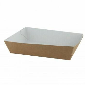 "Papieren snackbakjes ""Basic"" A16, Bruin/Wit Karton | 185x33x35mm, verpakt per 500 stuks"