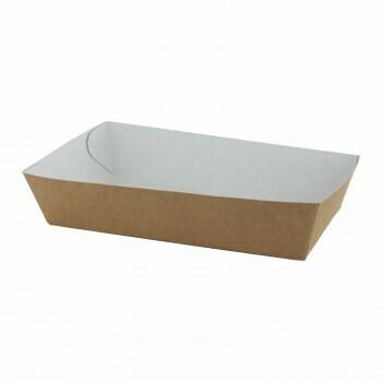 "Papieren snackbakjes ""Basic"" A13, Bruin/Wit Karton | 150x70x35mm, verpakt per 500 stuks"