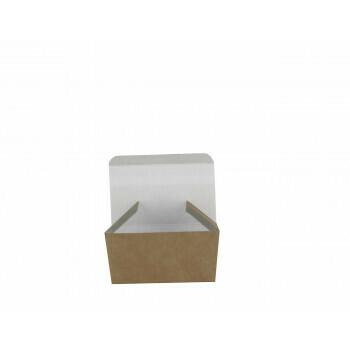 """Papieren snackbakjes """"Basic"""" Kipnuggetbakje, bruin/wit karton, verpakt per 250 stuks"""