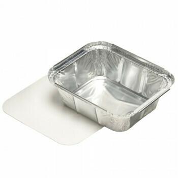 Aluminium maaltijdbak + ingelegd deksel, PE-gecoat 500ml, verpakt per 25 stuks