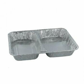 3-vaks Menuschaal laag, Aluminium | 22,7x17,8cm, verpakt per 1000 stuks