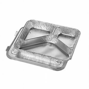 Menuschalen met deksel, aluminium 3-vaks 760 ml 3 cm x 17,7 cm x 22,5 cm, verpakt per 300 stuks