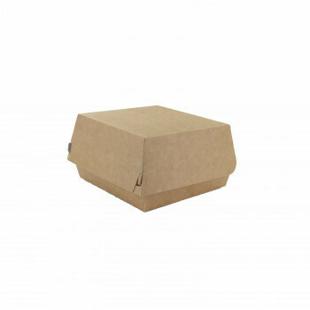 Hamburgerbak, Bruin/Wit Karton | 115x110x70mm, verpakt per 500 stuks