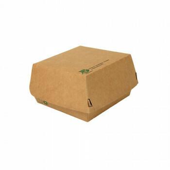 Hamburgerbox Maxi (100% FAIR) | 11,5 cm x 11 cm x 7 cm, verpakt per 320 stuks