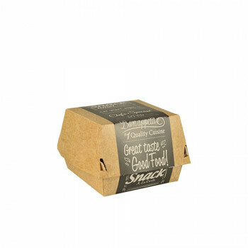 Hamburgerbox karton klein (Good Food) | 9 cm x 9 cm x 7 cm, verpakt per 500 stuks