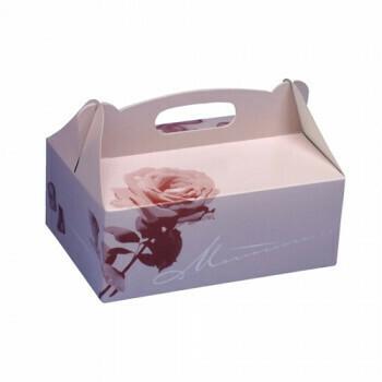 Gebakdozen 23 cm x 16 cm x 9 cm rosé met handvatten, verpakt per 150 stuks