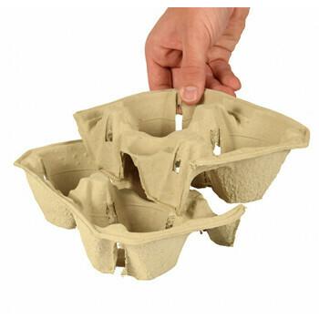 Draagtableau, karton 'To Go' 5 cm x 20 cm x 12 cm 'Click & Carry' voor 2 bekers, verpakt per 360 stuks