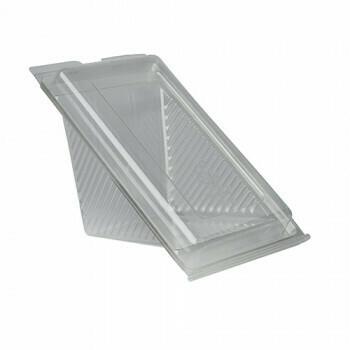 Sandwichboxen met klapdeksel, PLA 'pure' rectangular 9 cm x 11,1 cm x 19 cm transparant large, Verpakt per 500 stuks