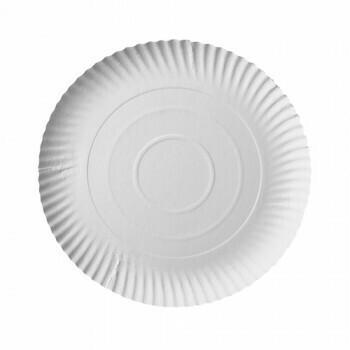 Borden, karton 'pure' rond Ø 24 cm · 2 cm wit, Verpakt per 200 stuks