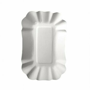 Schalen, karton 'pure' plein 9 cm x 14 cm x 3 cm wit, Verpakt per 1500 stuks