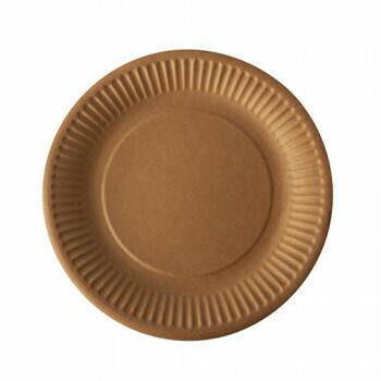 Borden, karton 'pure' rond Ø 23 cm bruin, Verpakt per 400 stuks