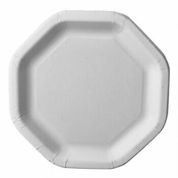 Borden, karton 'pure' octagonaal 23,5 cm x 23,5 cm wit, Verpakt per 500 stuks