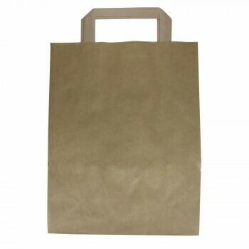 Kraftpapieren draagtas, bruin  | 22+10x28cm, verpakt per 250 stuks