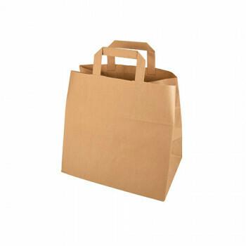 Kraft papieren draagtas bruin 25+17x 26cm , verpakt per 400 stuks