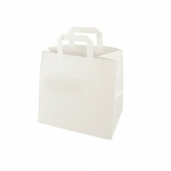 Draagtassen, papier 25+17 x 26 cm wit met handvatten, verpakt per 400 stuks