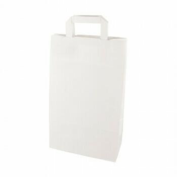 Draagtassen, papier 22+10x36 cm wit met handvatten, verpakt per 400 stuks