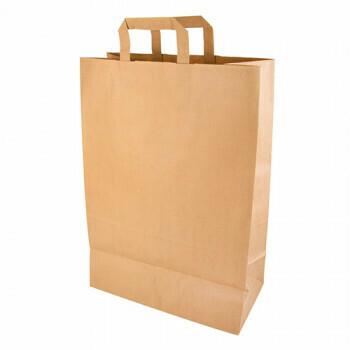 Kraft papieren draagtas bruin 32+17x 44 cm, verpakt per 200 stuks