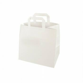 Draagtassen, papier 17+26x 25 cm wit met handvatten, verpakt per 250 stuks