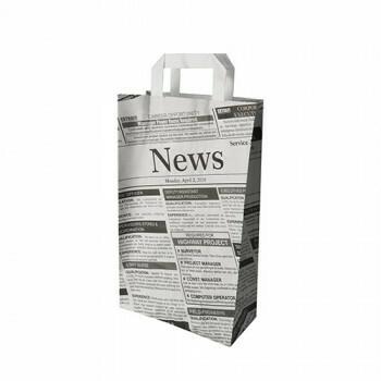Draagtassen met krantenprint, voorzien van handvatten | 22+10x 36cm, verpakt per 400 stuks