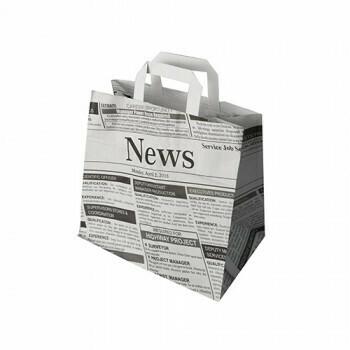 Draagtassen, papier 25+17x26 cm 'Newsprint' met handvatten, verpakt per 400 stuks