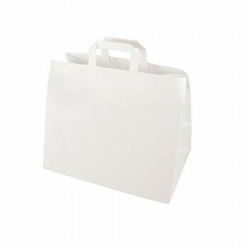 Draagtassen, papier 32+21.5x27 cm wit met handvatten, verpakt per 400 stuks