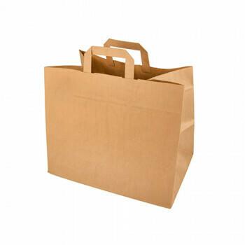 Kraft papieren draagtas bruin 32+21,5x 27 cm, verpakt per 400 stuks