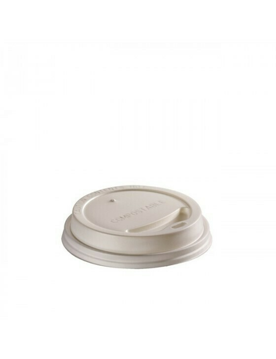 CPLA deksel wit 90mm Ø voor 2,5/3dl/12oz beker, verpakt per 1000 stuks