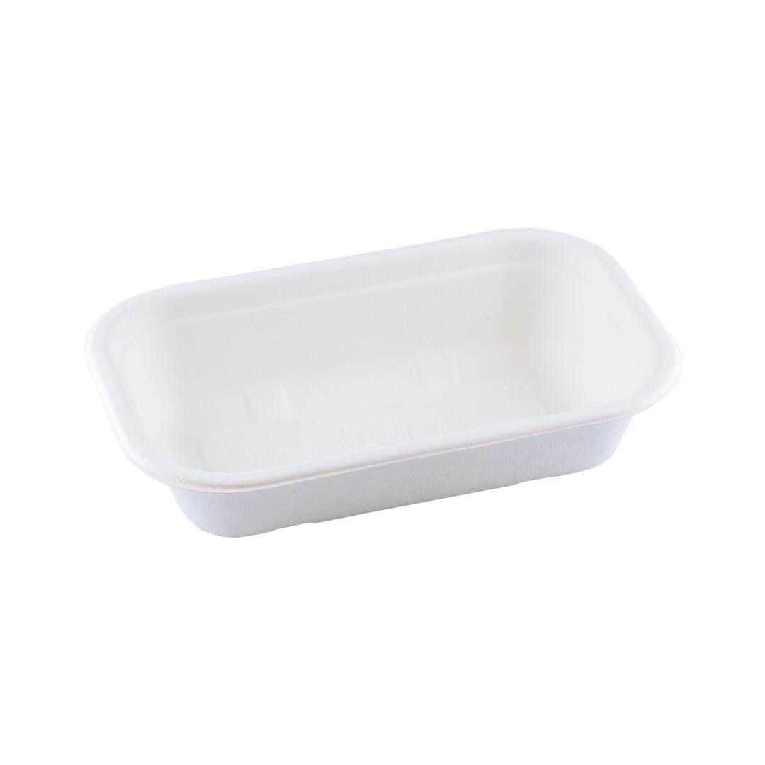 Bagasse maaltijdbak wit 500ml/205x130x45mm BIO-laminated, verpakt per 500 stuks