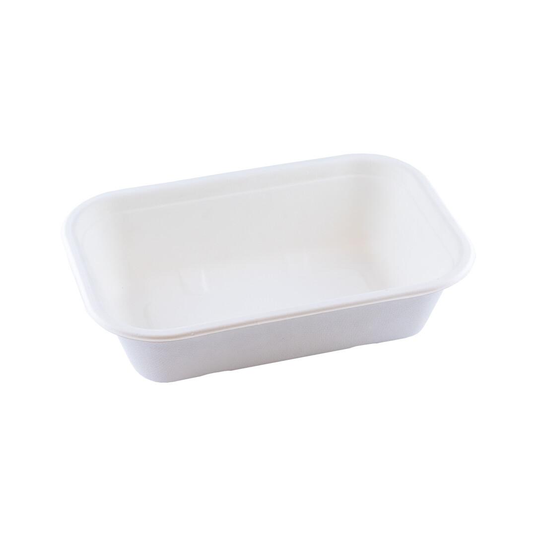 Bagasse maaltijdbak wit 850ml/229x153x50mm BIO-laminated, verpakt per 250 stuks