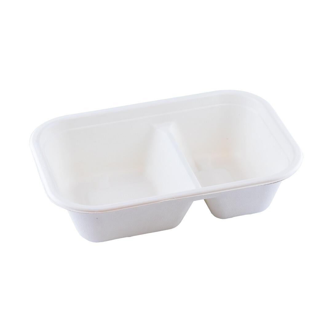 Bagasse maaltijdbak wit 1000ml/229x153x61mm 2-vaks, BIO-laminated, verpakt per 250 stuks