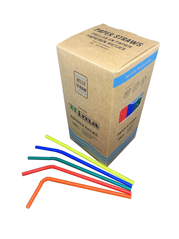 Premium papieren buigrietjes 6x200mm 5 kleurenmix, verpakt per 5000 stuks