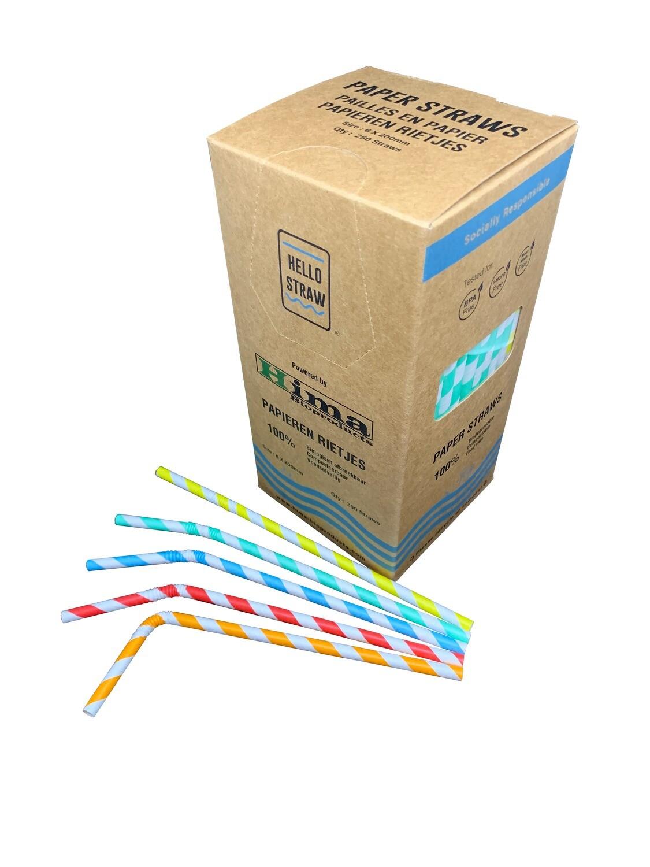 Premium papieren buigrietjes 6x200mm 5 kleuren Swirlmix, verpakt per 250 stuks