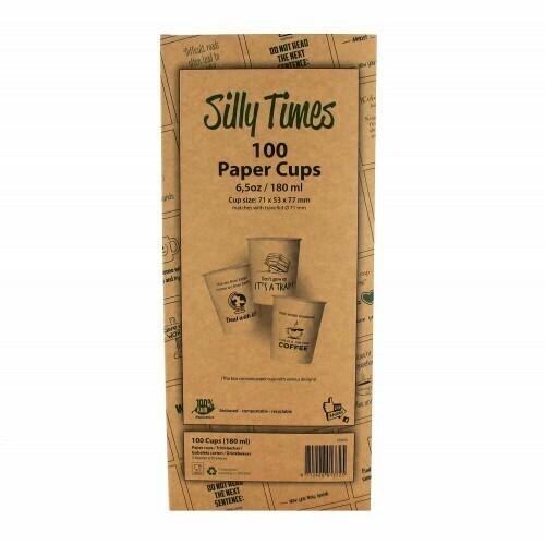 Koffiebeker (Silly Times) karton   177ml/6oz, verpakt per 100 stuks in displaydoos.