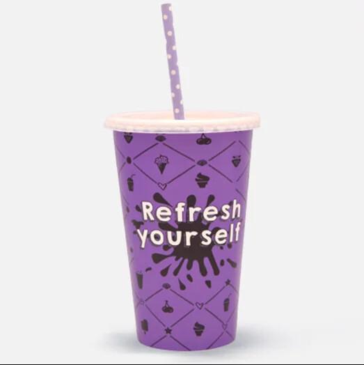 """Milkshakebeker 16oz/480ml Ø 90mm, """"Refresh yourself"""", verpakt per 1000 stuks"""