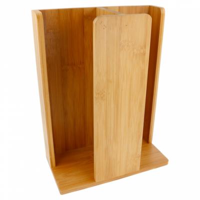 Bamboe beker en deksel houder 23x12x30cm 2-vaks Verpakt per 1 stuk