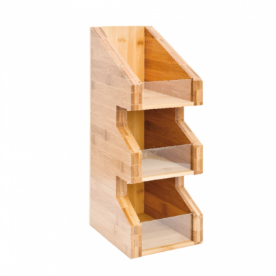 Bamboe organizer thee/melk/suiker 3-vaks 15x18x40cm Verpakt per 1 stuk
