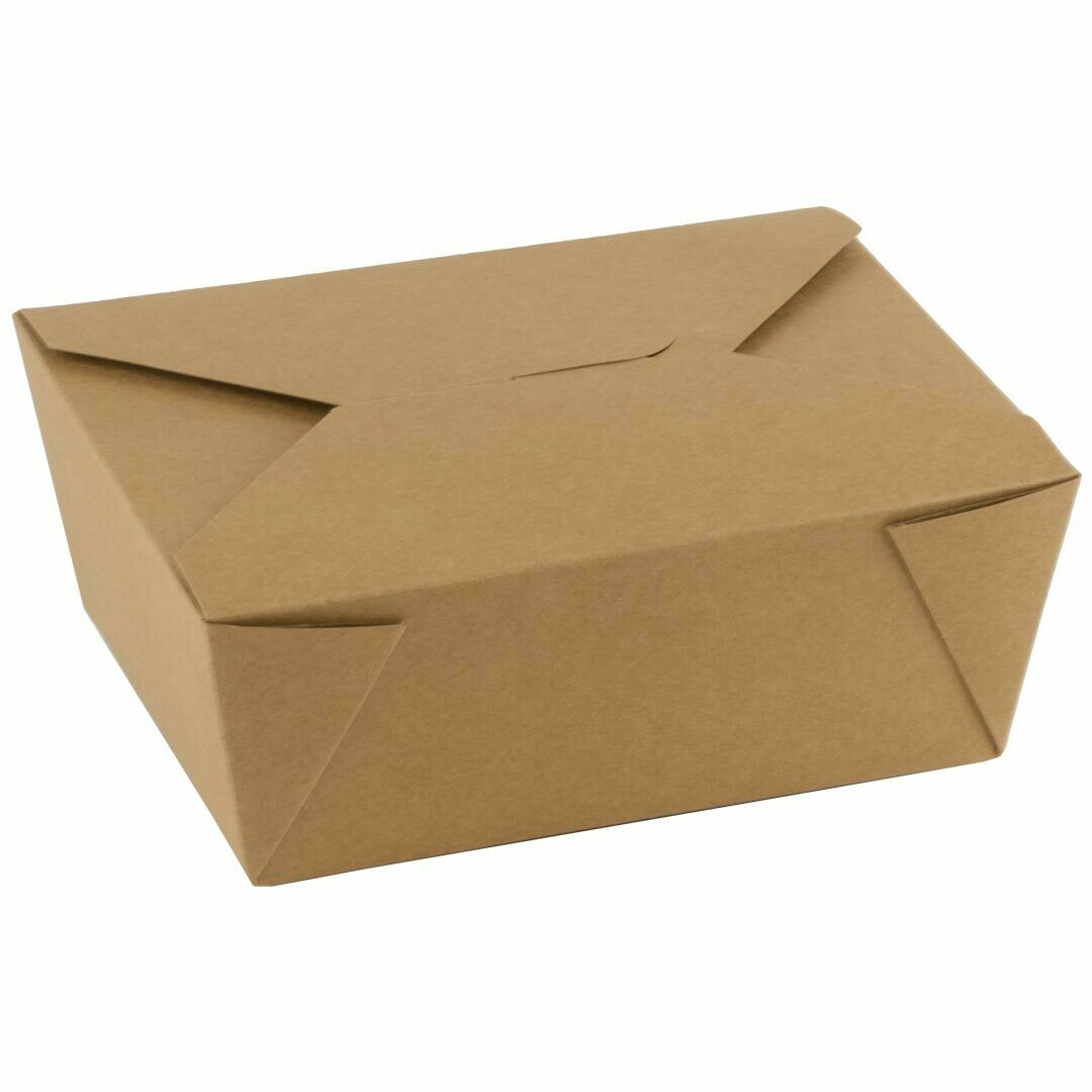 FSC® kraft/PLA take away box 1300ml/152x120x63mm, verpakt per 300 stuks