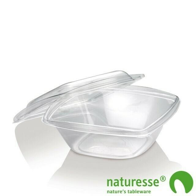 PLA saladebakje + deksel transparant 960ml, verpakt per 50 stuks