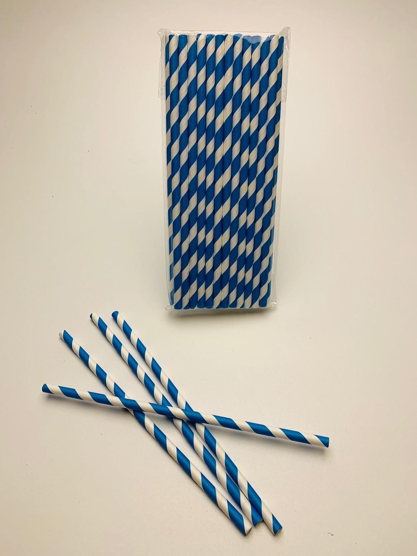 "Papieren rietje ""Swirl"" Wit/Blauw"