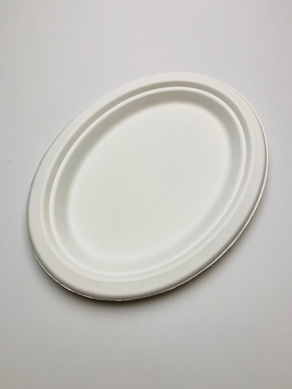 Bagasse bord ovaal wit, verpakt per 500 stuks