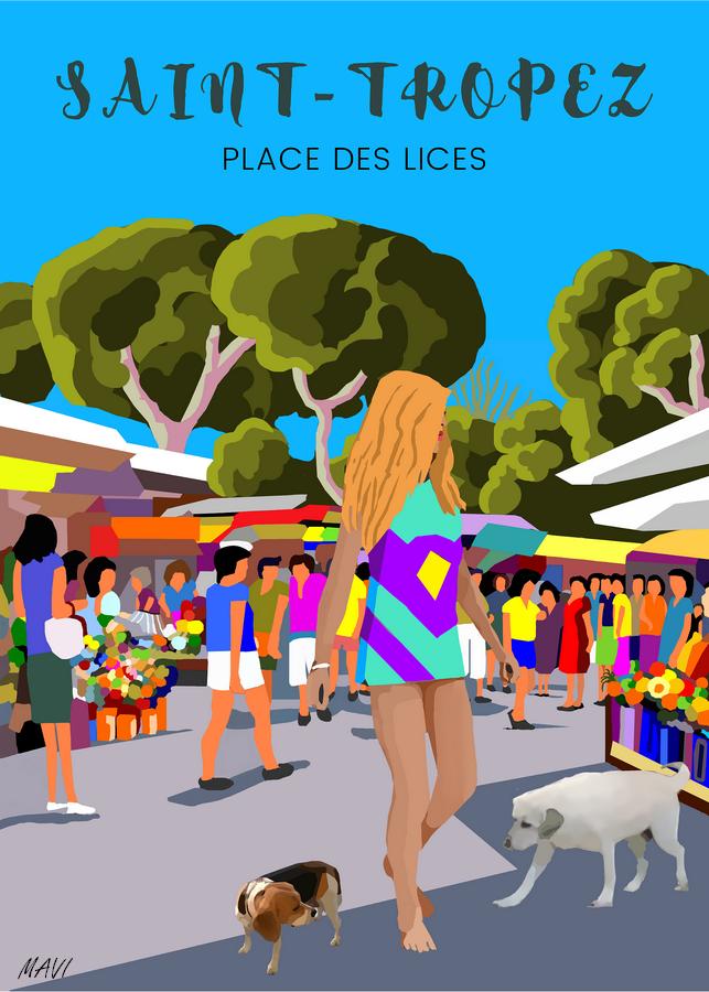 SAINT-TROPEZ  Marché place des Lices