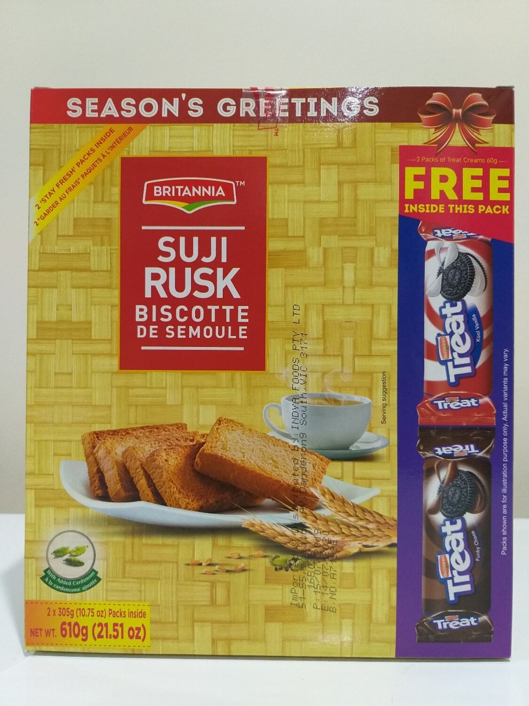 BRITANNIA SUJI RUSK  610 G( FREE 2 OREO BISCUITS )