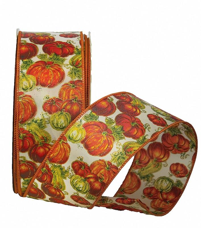 PATCH40 - #40 Wired glitter pumpkin patch ribbon