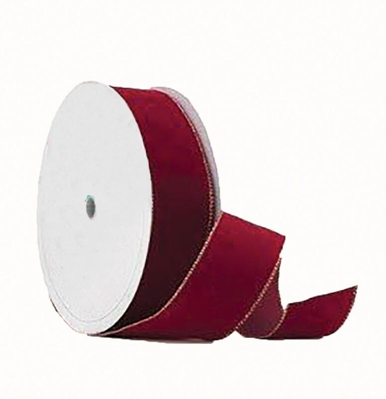 VGE40HRED - #40 Gold edge wired velvet (holiday Red)