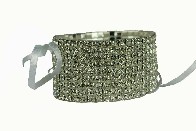 306CLR - 9 Row Crystal Wristlet With Plastic Pad