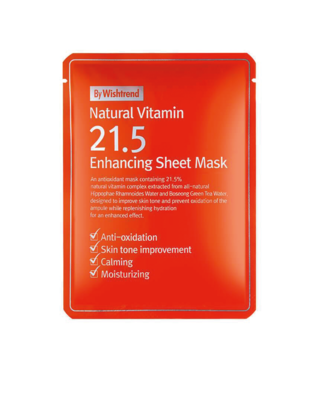 BY WISHTREND Natural Vitamin 21.5 Enhancing Sheet Mask 23 g