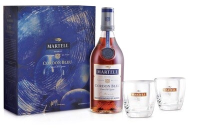 Martell 'Cordon Bleu' Cognac (Limited Edition Gift Pack with 2 Free Martell Glasses)