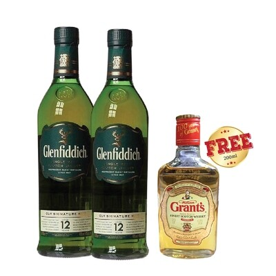 (Free Grant's Whisky) Glenfiddich '12 Years Old' Single Malt Scotch Whisky Bundle Pack