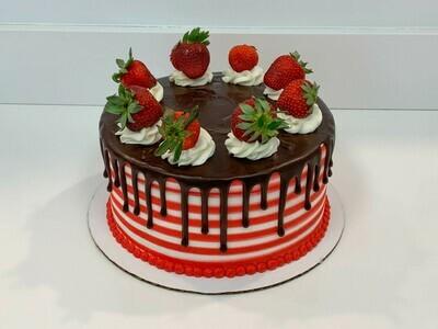Strawberry Topped Stripe Drip Cake