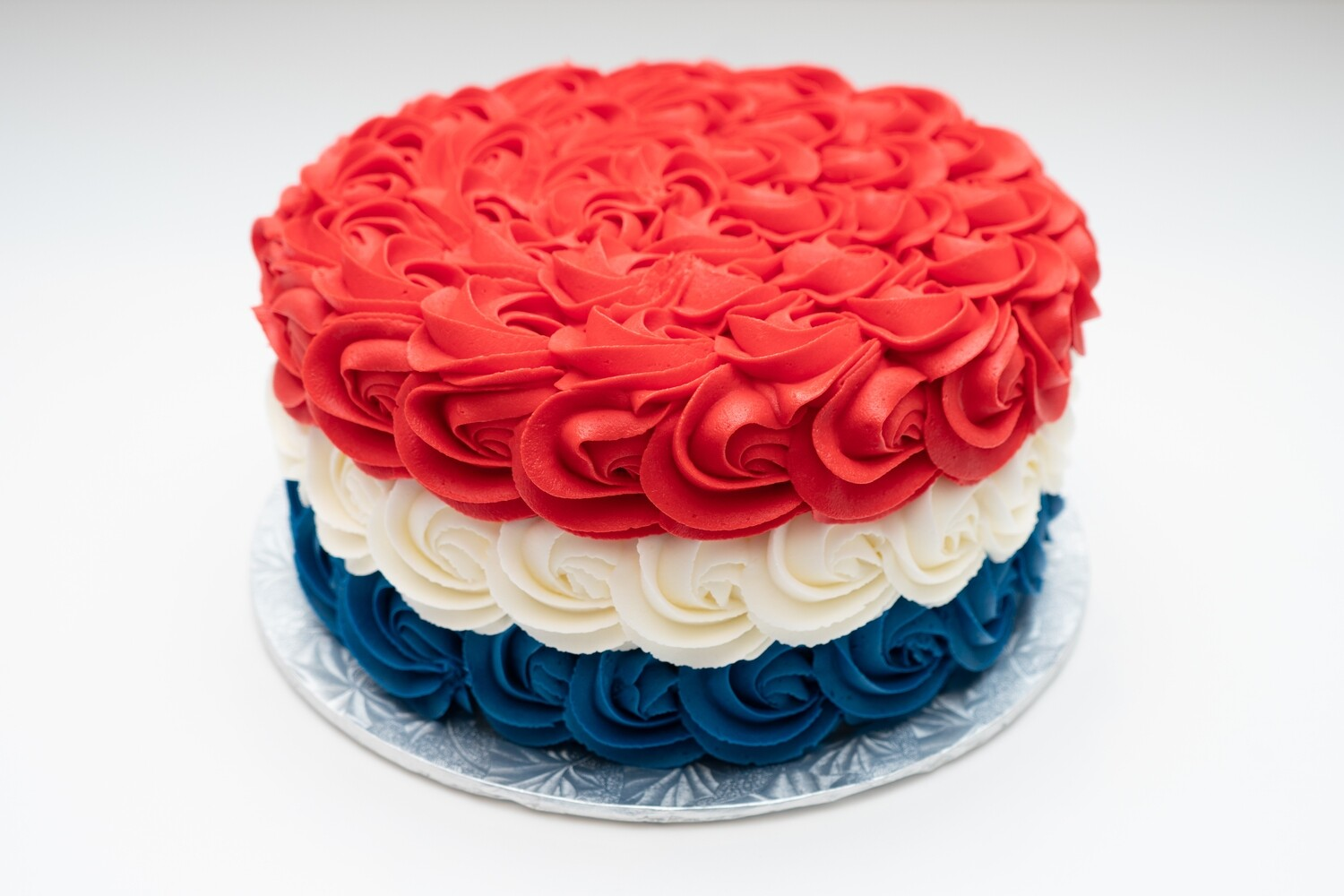 Red, White, and Blue Rosette Cake